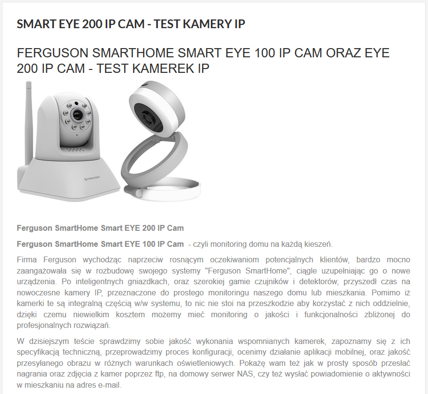 Testy kamerki Smart EYE 100 IP